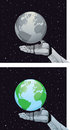 Robotic hand holding showing globe Stock Photo