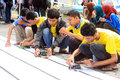Robotics championship some students currently preparing a homemade robot at in solo Royalty Free Stock Image