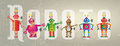 Robots banner six colorful set on a grunge style background set against the word robot Stock Photos
