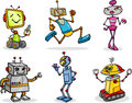 Robots or droids cartoon illustration set of funny Royalty Free Stock Photo