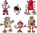Robots or droids cartoon illustration set of funny fantasy Royalty Free Stock Photography
