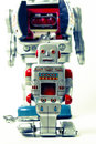 Robots father and son robot toys on white Royalty Free Stock Photo