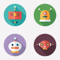 Robots flat round icons with long shadows set intelligent Stock Photography