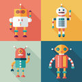 Robots flat square icons with long shadows set intelligent Royalty Free Stock Photo