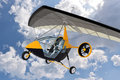 Robots flying in an ultralight d render of two trike against a cloudy sky Stock Photos