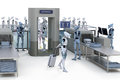 Robots going through security d render of airport Stock Photography
