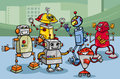 Robots group cartoon illustration of funny or droids Royalty Free Stock Photos