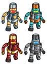 Robots group of four shiny walking Stock Photos