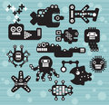 Robots and monsters collection vector illustration of the sea animals fish Royalty Free Stock Photography