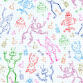 Robots pattern seamless with doodles of Royalty Free Stock Photography