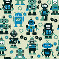 Robots seamless pattern color vector Royalty Free Stock Photography