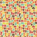 Robots seamless pattern in retro style vector texture with nanobots Stock Images