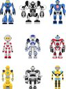 Robots set abstract isolated on white background vector illustration Stock Photos