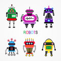 Robots set of different vector illustration Royalty Free Stock Photo