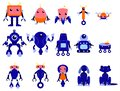 Robots set. Group of futuristic character of various shape.