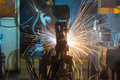 Robots welding in a car factory Royalty Free Stock Photography