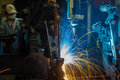 Robots welding in a car factory Stock Image