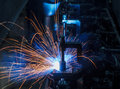 Robots welding in a car factory Royalty Free Stock Images