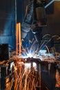 Robots welding in a car factory Stock Photos