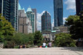 Robson square vancouver bc canada outside architect arthur ericksons low rise courthouse lunchbreak overlooking sunken below all Stock Photo