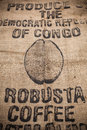 Robusta coffee hemp bag january studio shot made in republic of congo Stock Photography