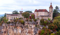 Rocamadour france as seen from a popular tourist viewpoint surronded by mountains Royalty Free Stock Photography