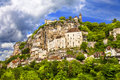 Rocamadour france beautiful french village and castles on cliff Royalty Free Stock Images