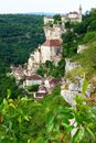 Rocamadour france a dramatic cliff top view of the ancient medieval french town of the most popular and famous tourist destination Stock Photography