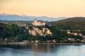 Rocca di Angera castle Lake Maggiore sunset Lombardy region Italy Royalty Free Stock Photo