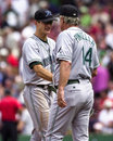 Rocco baldelli and lou pinella tampa bay manager congratulates after a victory image from color slide Royalty Free Stock Image