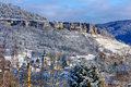 Roche du Mont in Ornans during winter Royalty Free Stock Photo