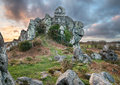 Roche rock an ancient ruined chapel built in to a rocky outcrop of granite on moorland in cornwall Royalty Free Stock Photos