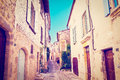 Rochemaure street of the medieval instagram effect Stock Images