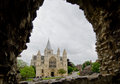 Rochester cathedral view of through a window of the castle wall Stock Image