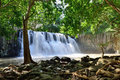 Rochester falls in jungle of mauritius island Stock Photo