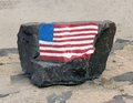 Rock with American Flag Royalty Free Stock Photo