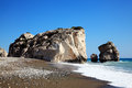 Rock of aphrodite petra tou romiou the birthplace the greek goddess love on a shoreline beach western cyprus Stock Image