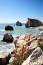 Rock of aphrodite petra tou romiou the birthplace the greek goddess love on a shoreline beach western cyprus Royalty Free Stock Image