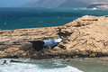 Rock arch fuerteventura a near la pared in spain Royalty Free Stock Images