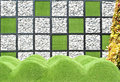 Rock and artificial grass wall Stock Photos