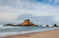 Rock in the atlantic ocean near portugal prai do castelejo at west coast of Stock Photography