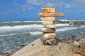 Rock balancing on the cliff Royalty Free Stock Photo