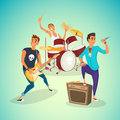 Rock band concer. Group creative young people playing instruments impressive performance. Cartoon vector illustration