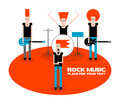 Rock band a four member cartoon vector illustration Royalty Free Stock Photo