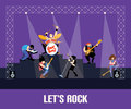 Rock band music group concert vector illustration