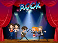 Rock band playing on stage Royalty Free Stock Photo