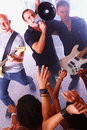 Rock band shouting to the audience Royalty Free Stock Photo