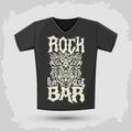 Rock Bar T shirt design template, silkscreen metal style