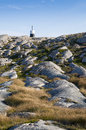 Rock beacon swedish west coast on top of cliff holländarberget at smogen smögen in the archipelago sotenäs bohuslän Royalty Free Stock Images