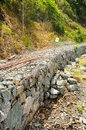 Rock blocks prevent landslides in contry road Stock Image